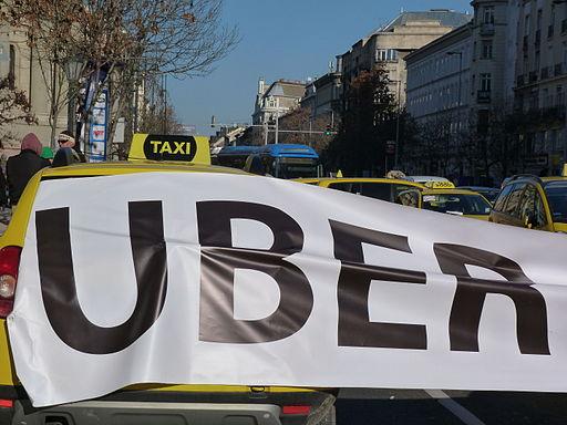 18th of January, 2016. Károly körút. Downtown Budapest. Protest against Uber