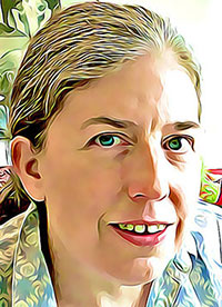 Colorful cartoonized portrait of Ingrid Tischer's face