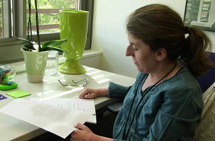 Ingrid at work at her desk