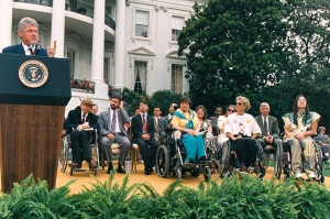 Clinton and Disability Rights Advocates in front of Whitehouse