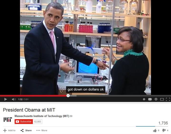 Screenshot of MIT video: President Obama at MIT