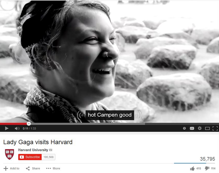 Screenshot Harvard University video: Lady Gaga Visits Harvard Captions
