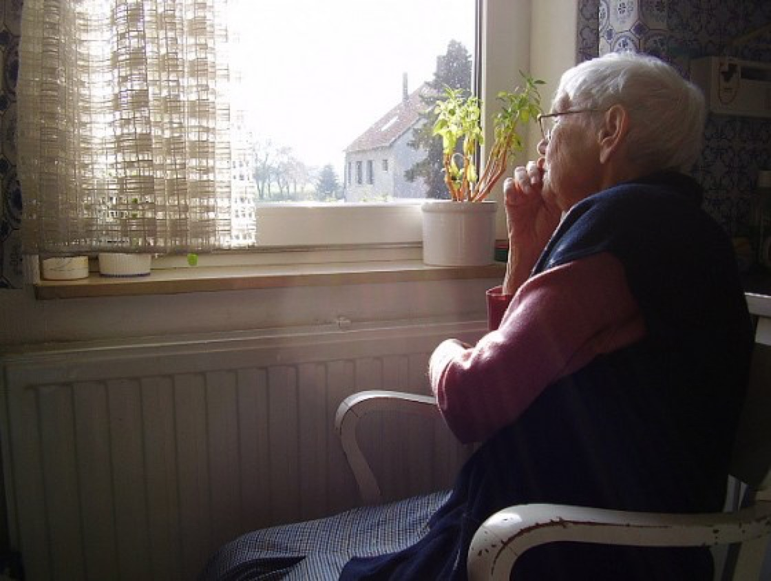 Elderly woman seated in chair looking out window
