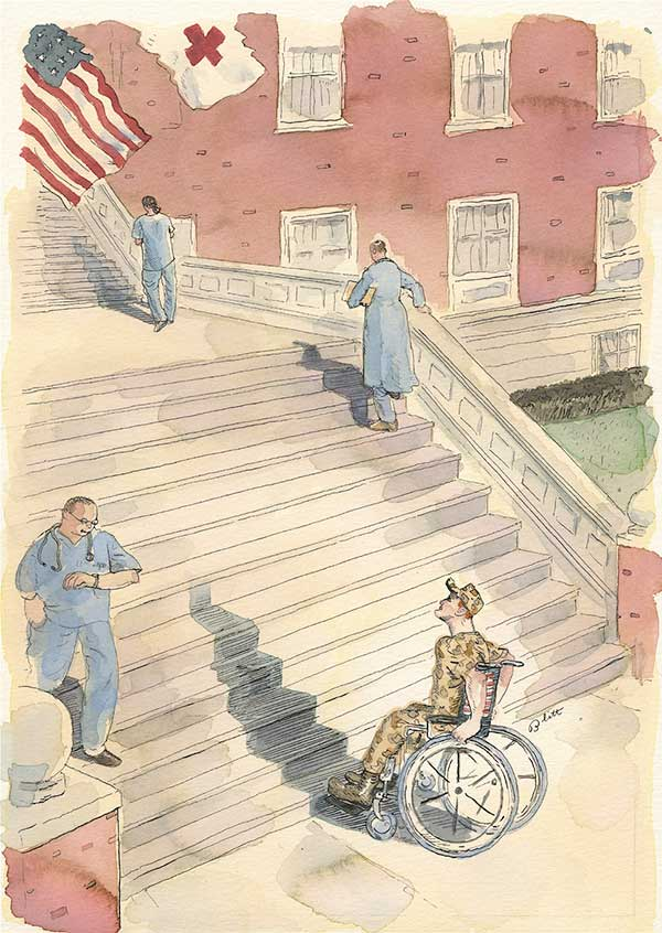 Doctors are walking up and down the front stairs of a hospital while a wheelchair user is stuck at the bottom of the stairs.