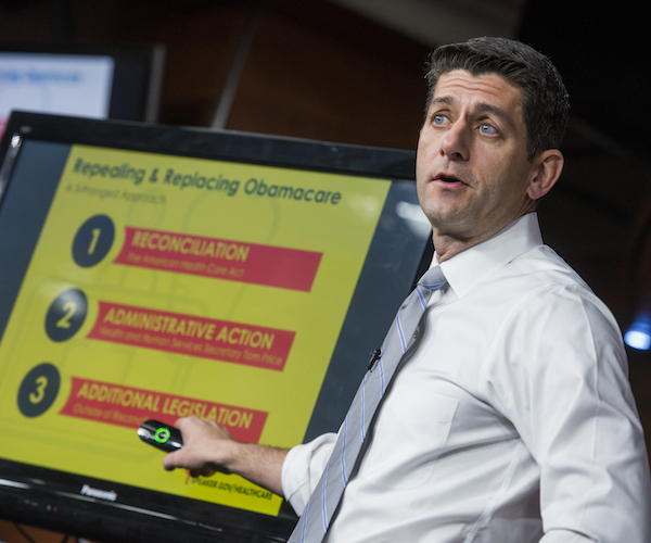Paul Ryan conducting a presentation in the House