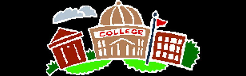 Colorful child like drawing of a College Campus