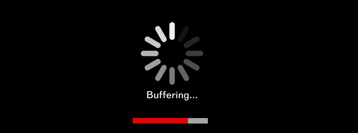 Buffering symbol with the word buffering below it and a progress bar below that.